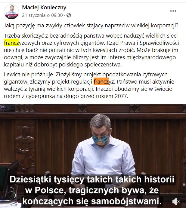 Sejm coraz głośniej mówi o franczyzie!
